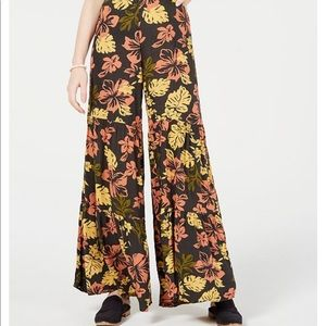 Free People Floral Tiered high-waist wide leg pant